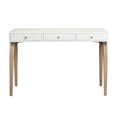 Three drawer white desk, faux concrete, crocodile style finish, natural curved oak legs, drawers on wooden runners, square gold style handles, gold style bar detailing on sides