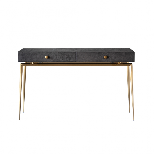 Two drawer dark grey desk, crocodile style finish, gold style legs, gold style handles