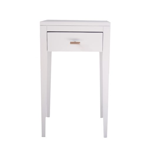 One drawer white bedside table with shelf, solid oak and oak veneer, drawer on wooden runners, tapered legs, visible grain, brass style hexagonal handle