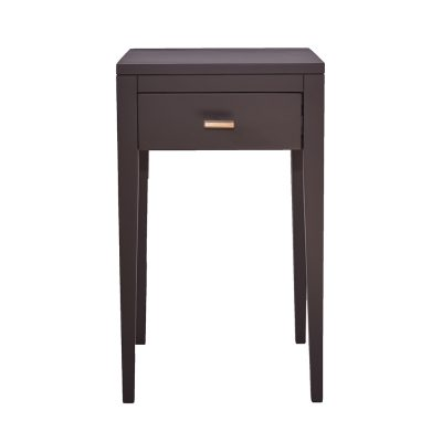 One drawer dark grey bedside table with shelf, solid oak and oak veneer, drawer on wooden runners, tapered legs, visible grain, brass style hexagonal handle