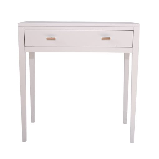 One drawer white console table, solid oak and oak veneer, tapered legs, drawers on wooden runners, visible grain, brass style hexagonal handles