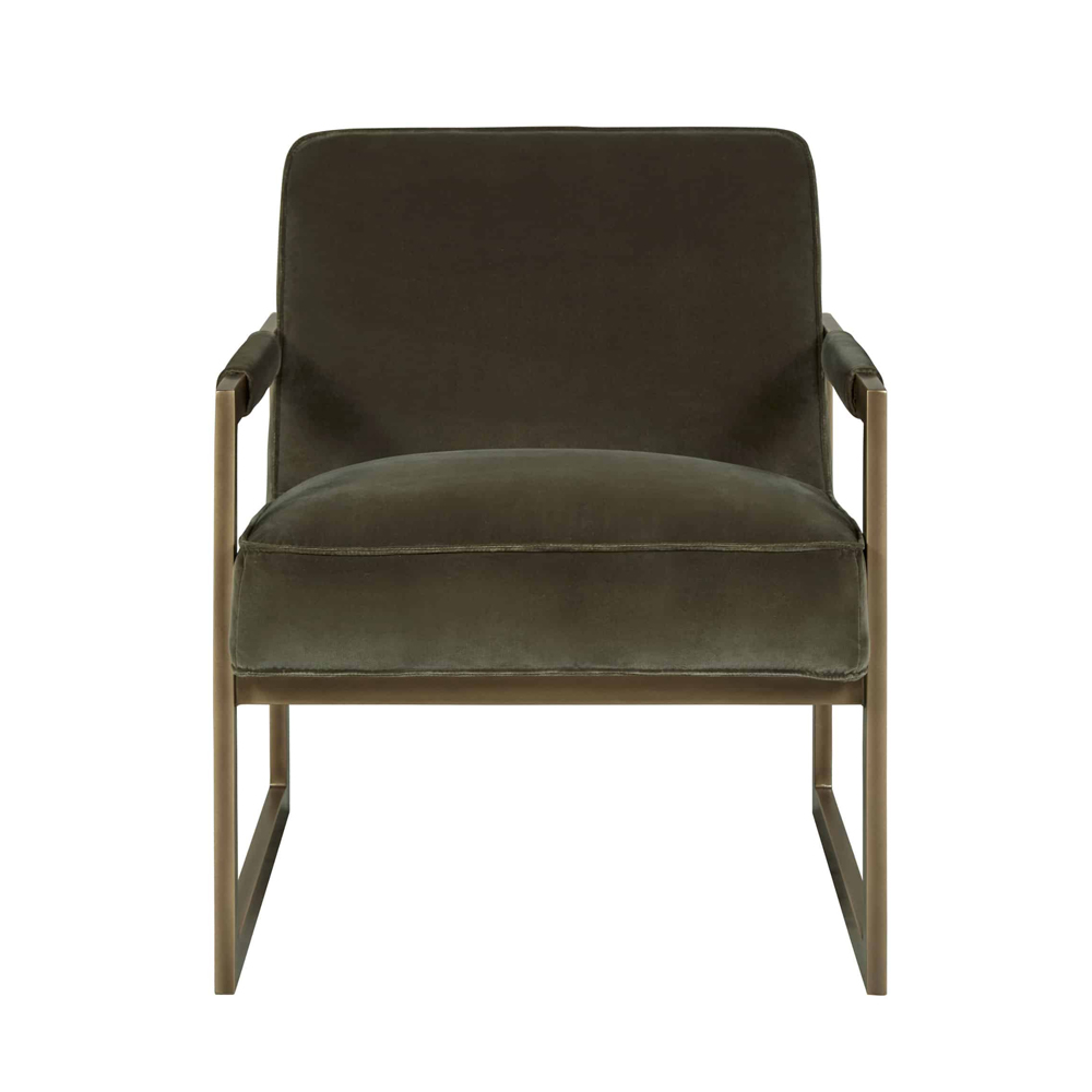 Olive green velvet armchair with bronze style frame